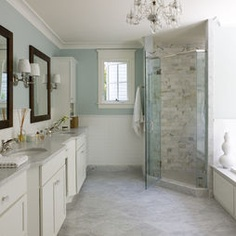 I like this light sky blue paint color with marbled gray or white tile