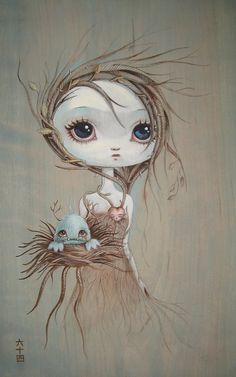 This reminded me of my lovely sister. Beautiful with a lovely heart, cradling a sweet little monster because she knows monsters need love too. :-)