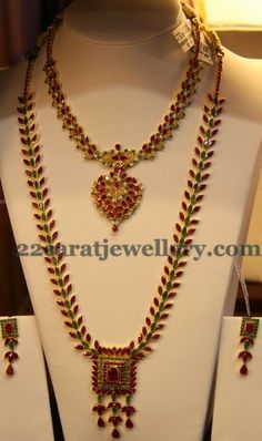 Jewellery Designs: Gemstone Long Set and Choker