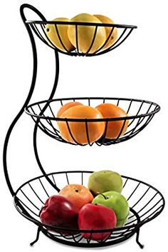 New Spectrum Diversified 81810 Yumi Arched 3 Tier Server Serving Basket Fruit Bowl & Produce Snack Display Stand, Black online - Goodlucktou