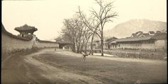 """""""Outside the old palace wall around Seoul, looking toward Nam San."""" Percival Lowell photo ca. 1882."""