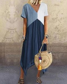 Casual Splicing V Neck Blend Short Sleeve Dress – linenwe maxi outfit long maxi dresses prom maxi dress wedding maxi dress V Neck Midi Dress, Maxi Dress With Sleeves, Short Sleeve Dresses, Short Sleeves, Tee Dress, Short Sleeve Blouse, Sheath Dress, Holiday Dresses, Summer Dresses
