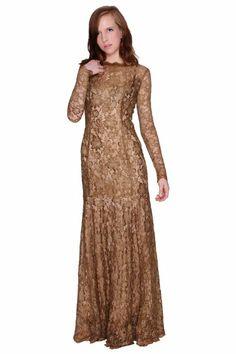 Beautifly Women's Olive Elegant Long Sleeve Lux Fine Lace Evening Dress #Luxy #WomensDress #LongSleeve #Lace #Dress