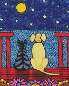 Cat and Dog Cross Stitch Kit Shelagh Duffett art Counted
