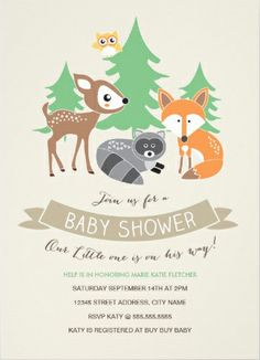 Cute woodland animals #baby_shower_invitations. Customize with your own information.