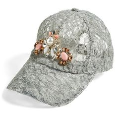 Women's Berry Embellished Lace Baseball Cap ($38) ❤ liked on Polyvore featuring accessories, hats, caps hats, ball caps, ball cap hats, lace hat and baseball hats