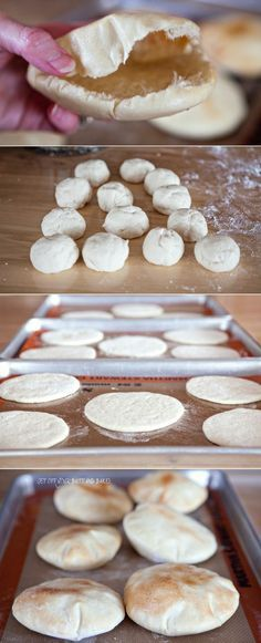 easy Pita Bread recipe; must roll very thin in order to get the pocket to form naturally. Remember to cover in order to prove