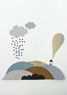 giochi di carta: Little landscape children illustration