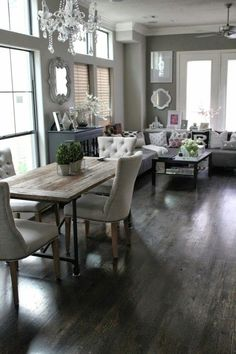 Rustic & contemporary dining/living room combination. | Homes and styles