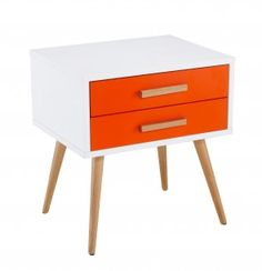 Diamond Sofa Tangent Accent Table with White Top, Orange Drawers and Oak Legs Scandinavian Furniture, Modern Furniture, Discount Furniture Stores, Home Accents, All Modern, End Tables, Modern Design, Sweet Home, Yurts