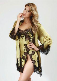Marjolaine Rare Kimono & Slipdress in Green & Black