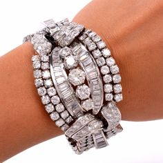 Shop diamond and gold link bracelets and other vintage and antique bracelets from the world's best jewelry dealers. Diamond Bracelets, Diamond Jewelry, Jewelry Bracelets, Link Bracelets, Bangles, Platinum Jewelry, Jewellery, Silver Jewelry, Art Deco Jewelry