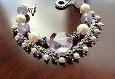 Natural amethyst bracelet jewelry light purple lilac gemstones bracelet amethyst bracelets garnet white pearl gemstone beaded bracelet by JuliaMonistaArt on Etsy