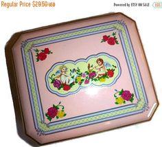 SALE Vintage Valentine Tin Box Cherub by PopcornVintageByTann