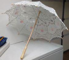Ivory Lace Cotton Embroidery Wedding Umbrella Sun Parasol Bridal Accessory   eBay