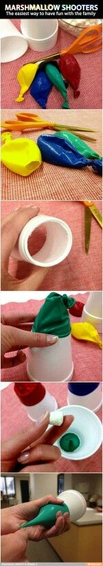 Use old balloons and Styrofoam cups to have family fun.