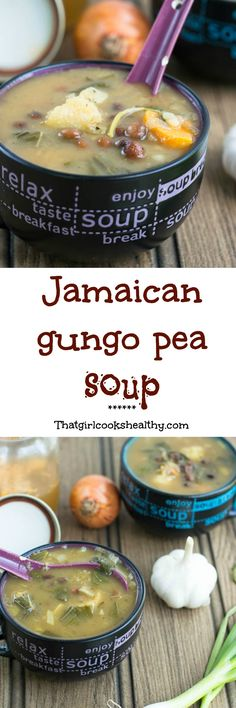 Gungo peas are pigeon peas.Light and hearty Jamaican gungo peas soup - a copy cat version that is vegan style Jamaican Dishes, Jamaican Recipes, Jamaican Soup, Jamaican Patty, Jamaican Cuisine, Haitian Recipes, Carribean Food, Caribbean Recipes, Soup Recipes