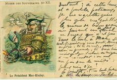 1898.GUERRA DE CUBA CONTRA EE.UU. MAC KINLEY Y ALFONSO XIII. CIRCULADA EN 1899.