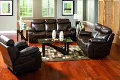 Denisa Transitional Brown Bonded Leather Living Room Set
