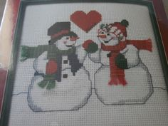 "Design by Christmas Traditions Stitched by ME!  Size- 6""x6""  Stitched on 14ct white aida.  Professional stitchers charge .01 cents per stitch + time and materials  If you h... #etsystore #craftshout #crossstitch #etsychaching #snowmen"