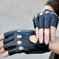 Fashion Half Finger Driving Women Gloves PU Leather Fingerless Gloves For Women Black
