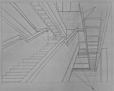 A two-point perspective drawing of the main stairs in the west architecture building