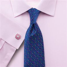 Pink silk road end on end Slim fit shirt