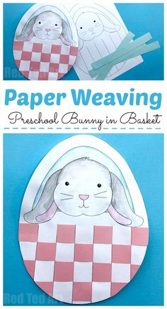Bunny Basket Weaving for Preschool - free printable Easter Paper Weaving Project for Nursery and Foundation. Adorable Paper Easter Craft #easter #preschool #printable
