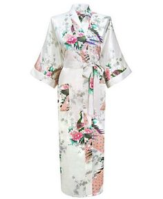 Brand New Long Robe Satin Rayon Bathrobe Nightgown For Women Kimono Sleepwear Flower Plus Size S-XXXL S02D