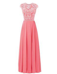 Dressystar Women High Collar Chiffon Bridesmaid Dress Cap Sleeves Beadings Size 8 Coral