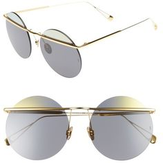 Women's Sunday Somewhere Minggu 57Mm Round Rimless Sunglasses ($370) ❤ liked on Polyvore featuring accessories, eyewear, sunglasses, gold, rimless glasses, round metal glasses, rounded sunglasses, lens glasses and thin sunglasses