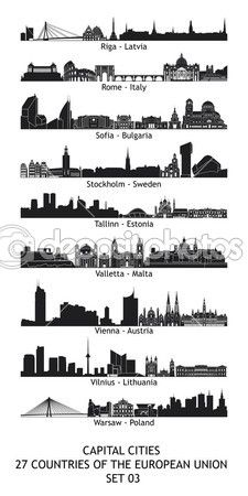 Skyline of the capital cities of the european union - set 03 Skyline Tattoo, Skyline Art, City Tattoo, Skyline Silhouette, Riga Latvia, Union City, Warsaw Poland, Capital City, Silhouette