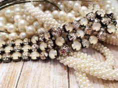 EBONY AND IVORY swarovski crystal bracelet, new stone, ivory, patina, triple row, 8mm, hematite setting, elegant, dksjewelrydesigns