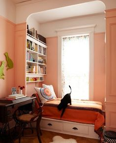 Image result for window seats with bookshelves