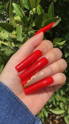 Red Bottom Nails, Cute Red Nails, So Nails, Long Red Nails, Red Ombre Nails, Red Gel Nails, Acrylic Nails Coffin Pink, Square Acrylic Nails, Red Glitter Nails