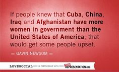 """""""If people knew that Cuba, China, Iraq and Afghanistan have more women in government than the United States of America, that would get some people upset.""""    ~ Gavin Newsom    [click on this image to find an extended preview and brief synopsis of the new documentary Miss Representation, which explores the very problematic ways girls and women are represented in popular media]"""