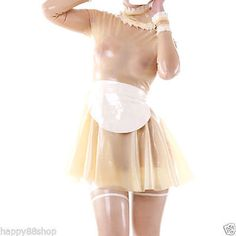 latex Rubber Transparent and White Sexy Stylish Maid Dress Size XS-XXL