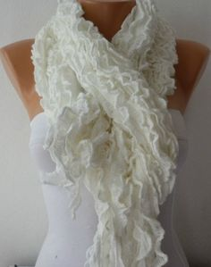 Fabric Knitted Lace Scarf - Shawl Scarf Cowl Scarf - Long Scarf - Ruffle Scarf- White- fatwoman on Wanelo