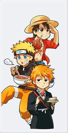 Luffy, Naruto, Ichigo, food, meat, ramen, strawberry cake, cute, chibi, crossover, One Piece, Bleach; Anime
