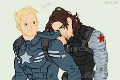(100+) Tumblr | Tears are the best solvent for Bucky's war paint. And Steve's stealth uniform is best for wiping off the residue. Now that's friendship.