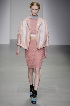 ffeaa8025e Bora Aksu at LFW. Grey peter pan collar and cropped knit in whipped  strawberry pink with quilted tube skirt finished with a pastel leather  bomber -pink ...