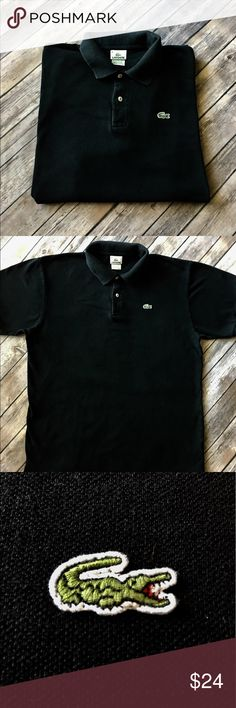 Lacoste - Men's Black Short Sleeve Polo Lacoste - Men's Black Short Sleeve Polo (size 8 =XXL U.S., however this fits more like an XL). In fantastic preowned condition. Please be sure to check out all of my other men's items to bundle and save. Same day or next business day shipping is guaranteed. Reasonable offers will be considered. Lacoste Shirts Polos