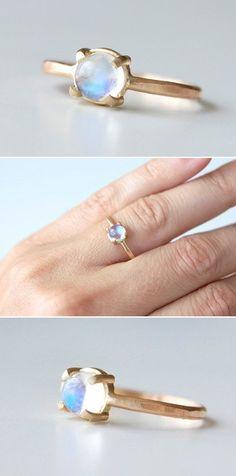 moonstone + gold ring