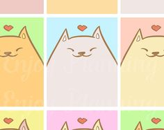 Printable Stickers, Full Box Cats Stickers Planner, Planner Stickers, Printable Planner, Printable Full Box Stickers,  Erin Condren, ECLP
