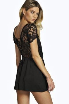 Liza Lace Up Back Crochet Playsuit at boohoo.com