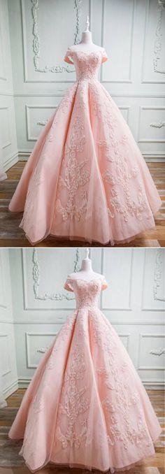 Spring pink tulle sweetheart neckline long off shoulder evening dress, long formal prom gown