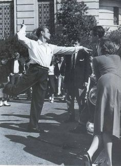 James Dean dancing for the cast on the set of Rebel Without a Cause (1955)