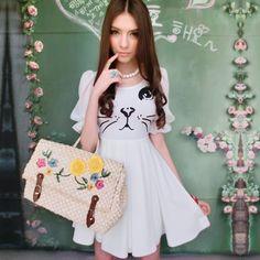 Pink Doll Brand New Summer 2014 Women's Fashion Put On A Large White Cat Print Chiffon Short Sleeve Dress $69.98