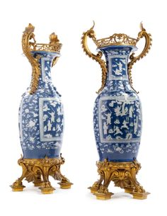 A Fine and Large Pair of Gilt Bronze Mounted Canton Porcelain Vases, France, Mid to Late Century, the Porcelain Chinese Porcelain Ceramics, White Ceramics, Decoration, Art Decor, Mosaic Vase, Bronze, Chinese Ceramics, Glass Ceramic, Objet D'art