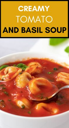This easy Vegan Tomato and Basil Soup makes a creamy, super easy and hearty dinner. Insanely delicious and comforting. Made from only a few pantry staples in under 30 minutes. | The Green Loot #vegan #veganrecipes